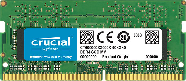 Crucial, DDR4, 16GB, 2666Mhz, (PC-21300), CL19, DR, x8, Unbuffered, Non-ECC, SODIMM, 260pin, [CT16G4SFD8266],