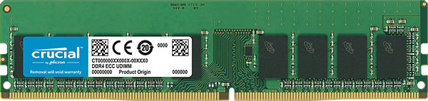 Crucial, DDR4, 16GB, 2666Mhz, (PC-21300), CL19, DR, x8, Unbuffered, ECC, DIMM, Desktop, Memory, [CT16G4WFD8266],