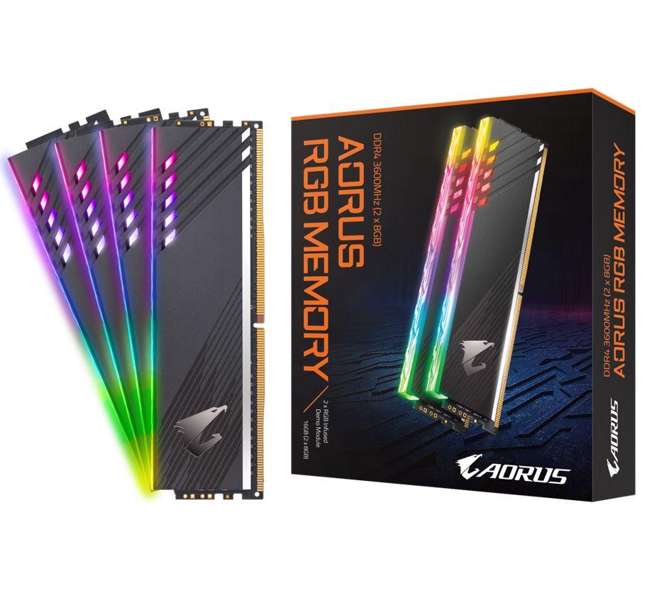 GIGABYTE, AORUS, RGB, MEMORY, 16GB, KIT, (2x, 8GB), DDR4, 3600MHZ, 1.35V, WITH, 2x, RGB, DEMO, MODULE,