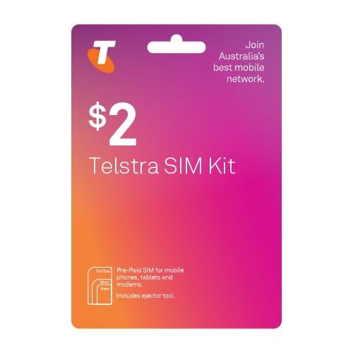 Telstra, $2, SIm, Starter, Kit, for, Tablets, Telstra, Prepaid, Sim, Card,