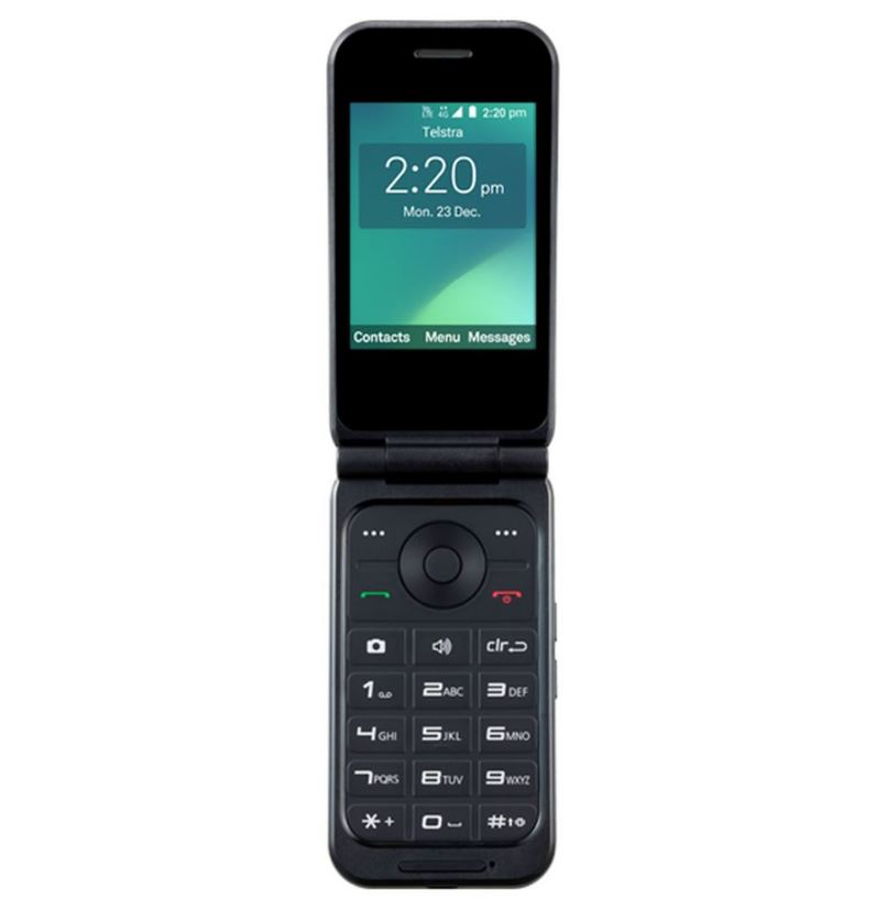 Telstra, Flip, 3, (Z2335T), 4GX, with, External, RF, Port, Black-, TELSTRA, BLUE, TICK, -, 2.8, Screen, SIze, 2MP, Camera, 4GB, Memory, 2,