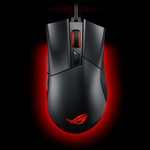 ASUS, ROG, Gladius, II, P502, Gaming, Mouse, FPS, easy-swap, switch, socket, Aura, Sync, RGB, lighting, and, DPI, target, thumb, button,