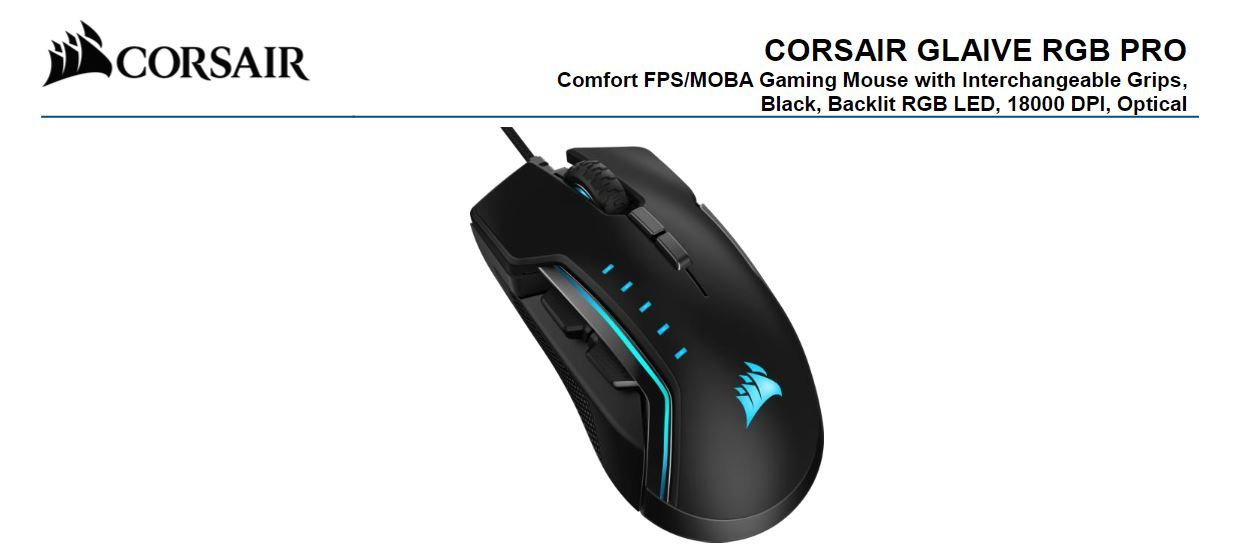 Corsair, Gaming, GLAIVE, PRO, RGB, Gaming, Mouse, -, Black, Backlit, RGB, LED, 18000, DPI, Optical, CUE, Software, Changeable, Thumb,