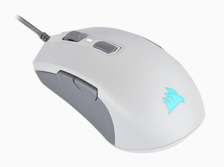 Corsair, M55, RGB, PRO, White, Ambidextrous, Multi-Grip, Gaming, Mouse, 200-12, 400, DPI, ICUE, Software., 2, Years, Warranty,