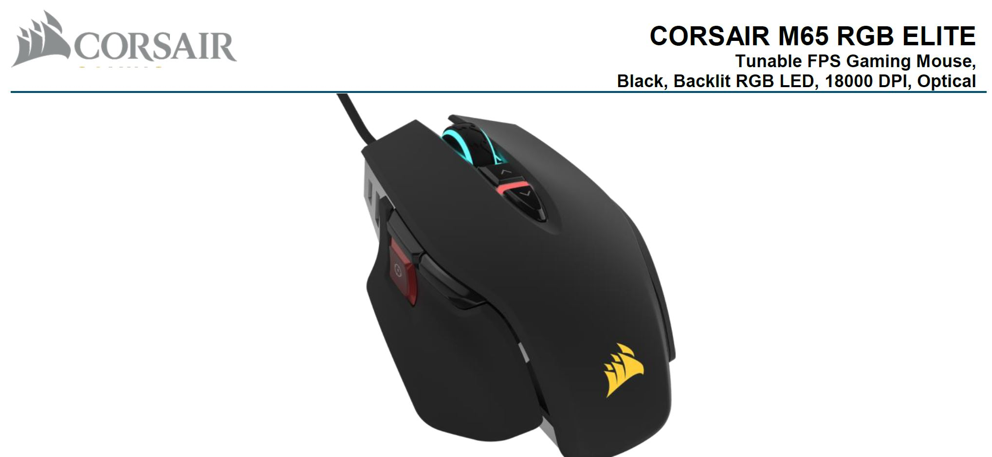 Corsair, M65, RGB, ELITE, Tunable, FPS, Gaming, Mouse, Black, 18000, DPI, Optical, iCUE, Software.,