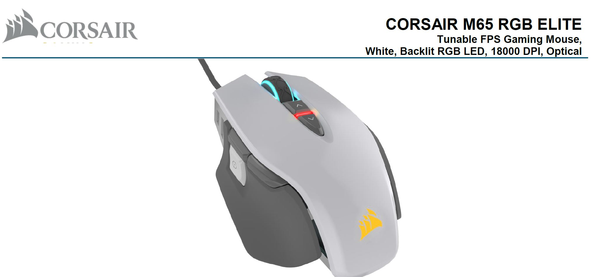 Corsair, M65, RGB, ELITE, Tunable, FPS, Gaming, Mouse, White, with, Black, 18000, DPI, Optical, iCUE, Software.,