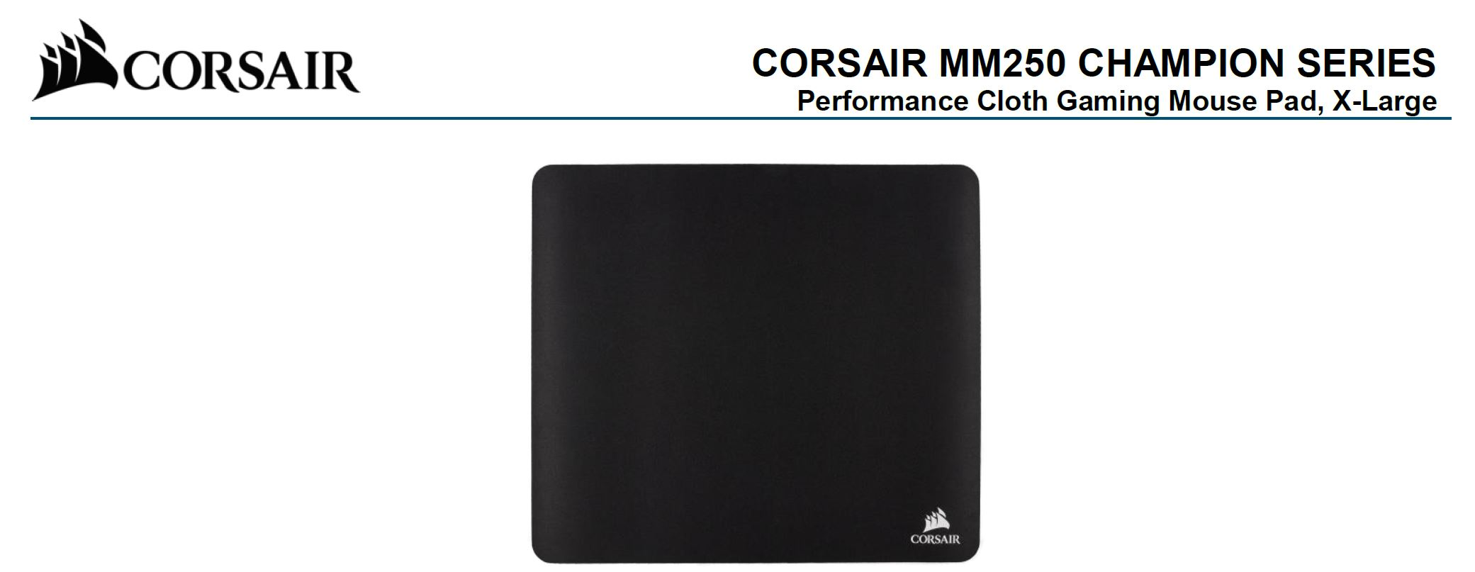 Corsair, MM250, Champion, Series, X-Large, Anti-Fray, Cloth, Gaming, Mouse, Pad., 450x400mm, 2, Years, Warranty,