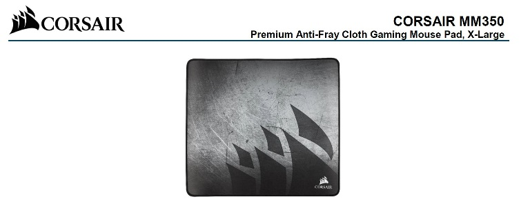 Corsair, MM350, Premium, Anti-Fray, Cloth, Gaming, Mouse, Pad., Extra, Large, Edition, 450mm, x, 400mm, x, 5mm,