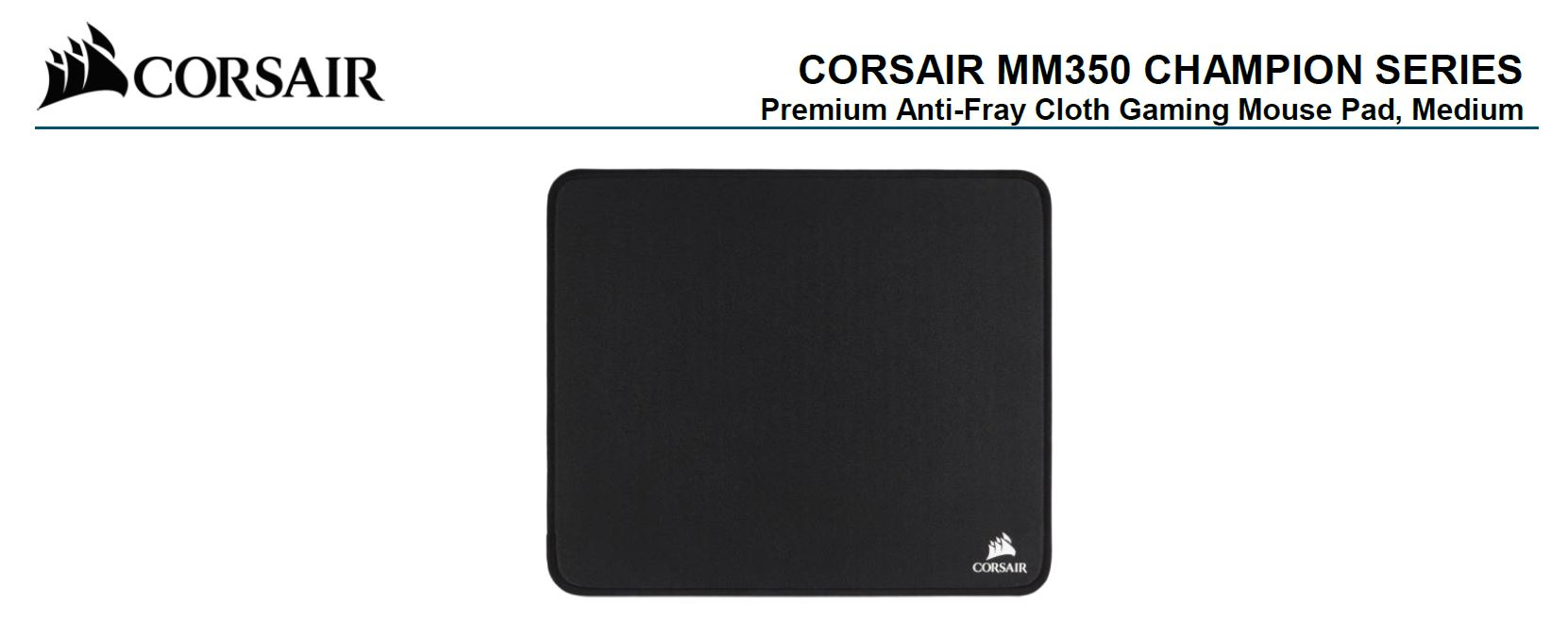 Corsair, MM350, Champion, Series, Medium, Anti-Fray, Cloth, Gaming, Mouse, Pad., 320, x, 270mm, 2, Years, Warranty,