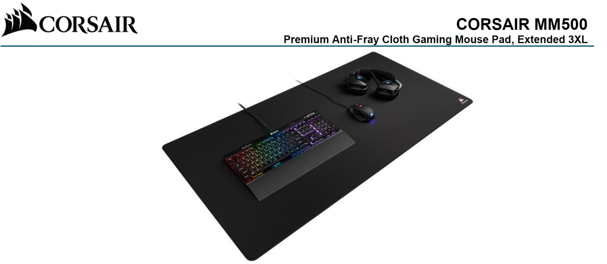 Corsair, MM500, GAMING, MOUSE, MAT, EXTENDED, 3XL, 1220mm, x, 610mm, x, 3mm,