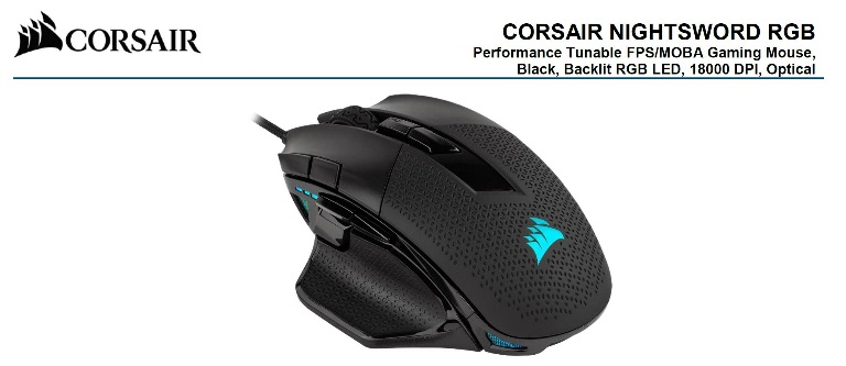 Corsair, Nightsword, RGB, Smart, Tunable, FPS/MOBA, 18000, DPI, Gaming, Mouse,