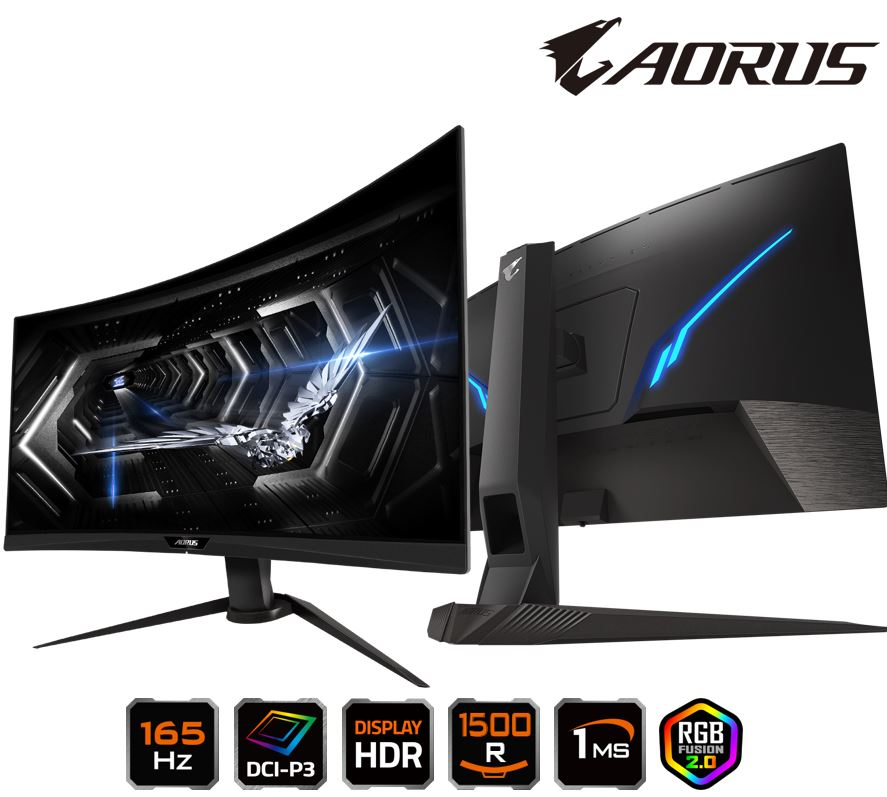GIGABYTE, AORUS, CV27Q, CURVED, GAMING, MONITOR, 27, 165Hz, VA15000, 2560x1440, HDMI, DP, HBR3, 3YR,