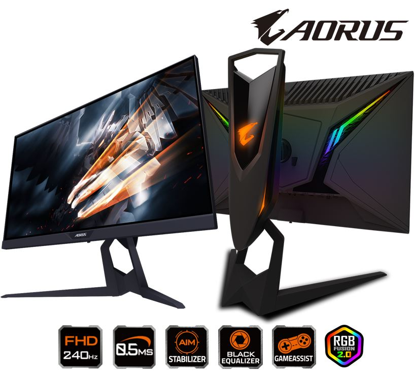 GIGABYTE, AORUS, KD25F, GAMING, MONITOR, 25, TN, FHD, 1920x1080, 0.5MS, 240Hz, HDMI, DP, USB, 3Y,