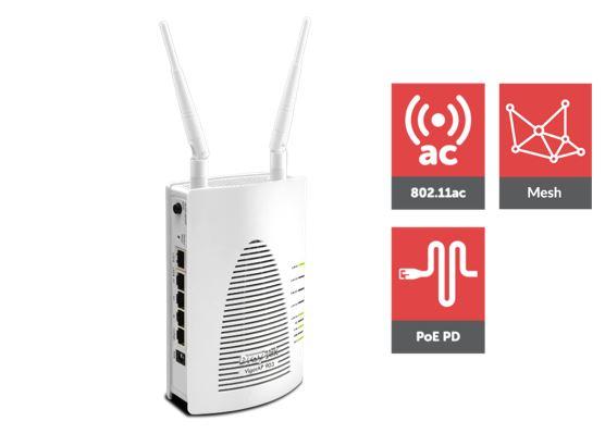 Draytek, Vigor, AP903, 802.11ac, (AC, 1200), Mesh, AP, 5Giga, LANs, (1PoE), USB, Printer, Sharing, WDS, WMM, Wireless, Isolation, AP,