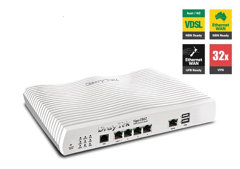 Draytek, Vigor2862, Multi, WAN, VDSL2/ADSL2+, Gigabit, Firewall, Router, 3G/4G, LTE, USB, 4xGigabit, LAN, 32xVPN, Tunnels, 16xVLAN, 2yr,