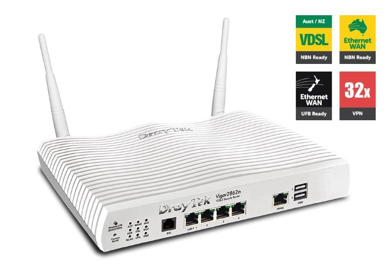 Draytek, Vigor2862N, Multi, WAN, VDSL2/ADSL2+, Gigabit, Firewall, Router, Wireless, N300, 3G/4G, LTE, USB, 4xGigabit, LAN, 32xVPN, Tunne,