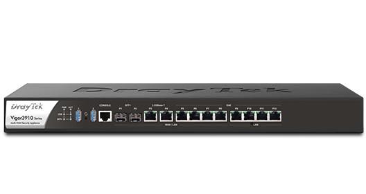 Draytek, Vigor3910, Octuple-WAN, router, 4x, Gigabit, LAN, 2USB, 2, x, 10GbE, SFP+, 2, x, 2.5GbE, &, 4, x, GbE, configurable,