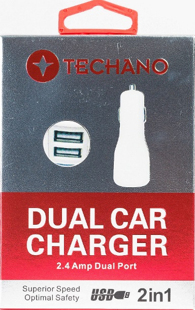 Techano, Car, Charger, 2.4, amp, Dual, USB, White,
