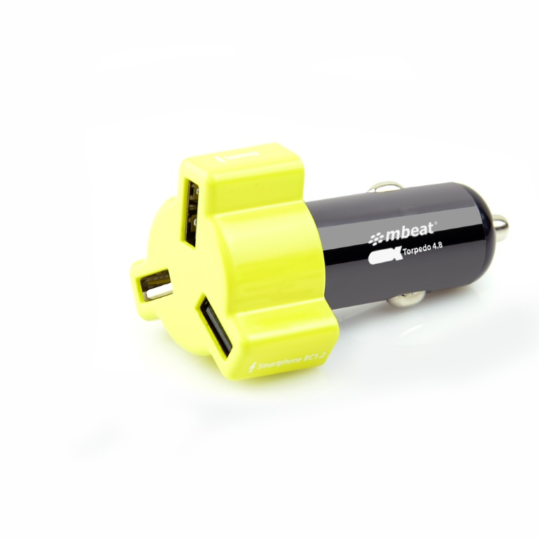 mbeat®, 3-Port, USB, 4.8A, 24W, Triple-port, Rapid, Car, Charger, -, Yellow, /, Fast, Charger, for, Apple, iPhone, iPod, iPad, Samsung, HTC,