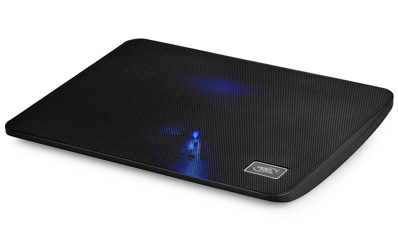 Deepcool, Wind, Pal, Mini, Notebook, Cooler, Black, 15.6, Max, Metal, Mesh, 140mm, Fan, Blue, LED, USB, Passthrough,