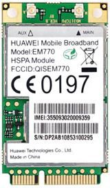 Huawei, 3G, Int, Modem, EM770, Internal, mini, PCI, card,