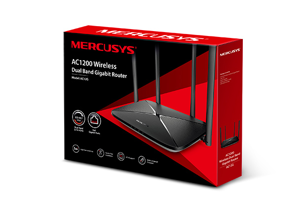 Mercusys, AC12G, AC1200, Wireless, Dual, Band, Gigabit, Router, 300Mbps@2.4GHz, 867Mbps@5GHz, 4, 5dBi, Fixed, Omni, Directional, Antenn,