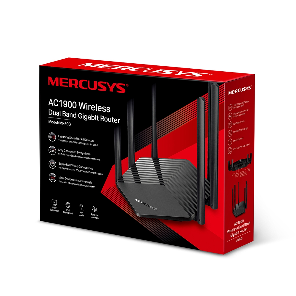Mercusys, MR50G, AC1900, Wireless, Dual, Band, Gigabit, Router, 600, Mbps@2.4, GhHz, 1300Mbps@5, GHz, 6, Fixed, Omni, Directional, Anten,