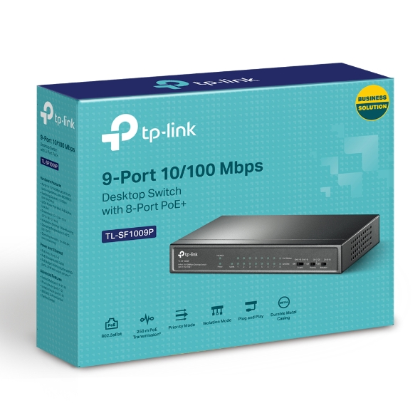 TP-Link, TL-SF1009P, 9-Port, 10/100Mbps, Desktop, Switch, with, 8-Port, PoE+,