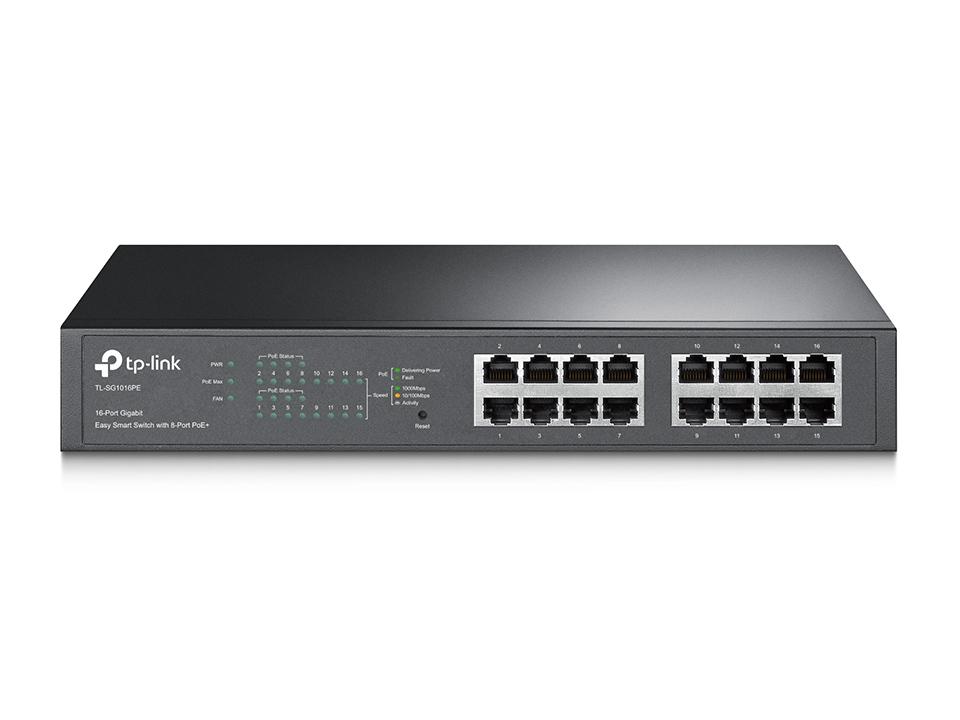 TP-Link, TL-SG1016PE, JetStream, 16-Port, Gigabit, Desktop/Rackmount, Switch, with, 8-Port, PoE+, 32Gbps, IEEE, 802.3af/at, Priority,