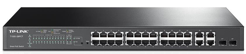 TP-Link, T1500-28PCT, (TL-SL2428P), JetStream, 24-Port, 10/100Mbps, +, 4-Port, Gigabit, Smart, PoE+, Switch,