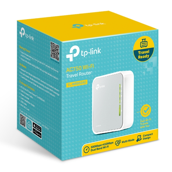 TP-LINK, AC750, TRAVEL, ROUTER, 300MBPS, LAN/WAN, (1), MICRO, USB, (1), 3YR,