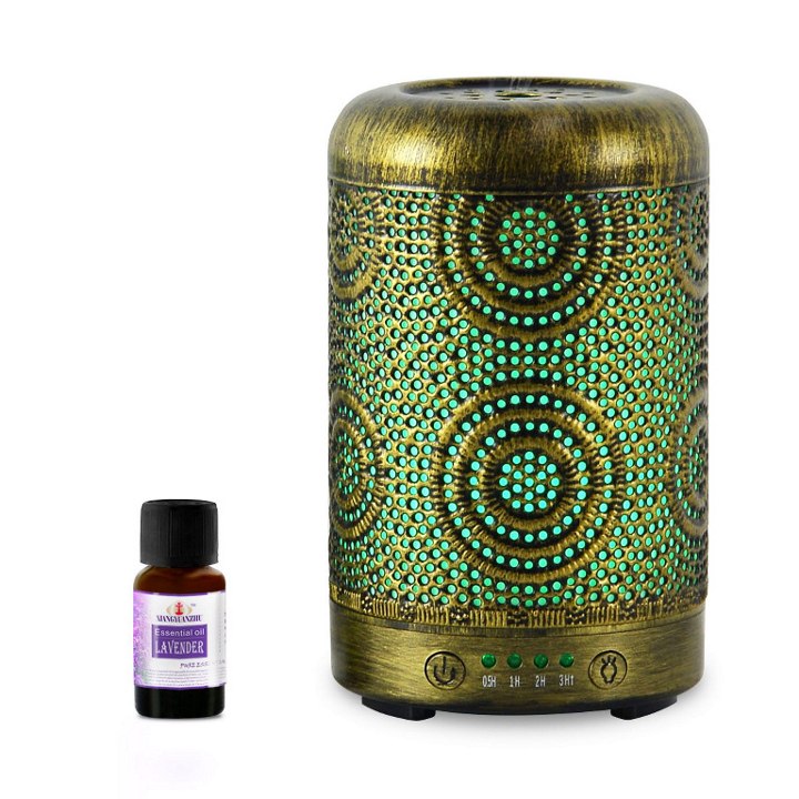 mbeat®, activiva, Metal, Essential, Oil, and, Aroma, Diffuser-Vintage, Gold, -100ml,