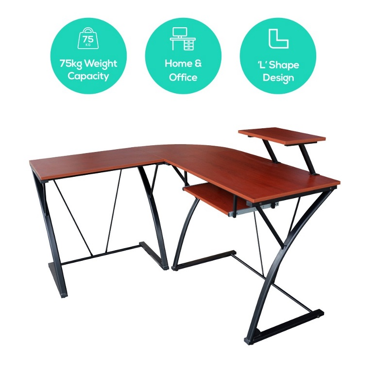 mbeat®, actiVIVA, Khloe, L-Shape, Modern, Computer, Desk, -, MDF, Board/Powder, Coated, Frame/Weight, Capacity, 75kgs/Ideal, for, Home,