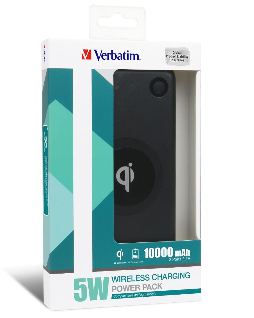 Verbatim, POWER, PACK, 10000MAH, 2, PORTS, WLESS, 5W, BLK,