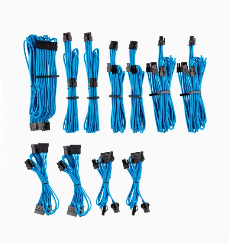 For, Corsair, PSU, -, BLUE, Premium, Individually, Sleeved, DC, Cable, Pro, Kit, Type, 4, (Generation, 4),