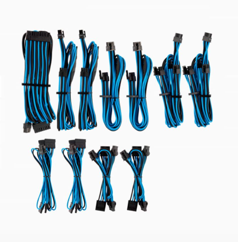 For, Corsair, PSU, -, BLUE/BLACK, Premium, Individually, Sleeved, DC, Cable, Pro, Kit, Type, 4, (Generation, 4),