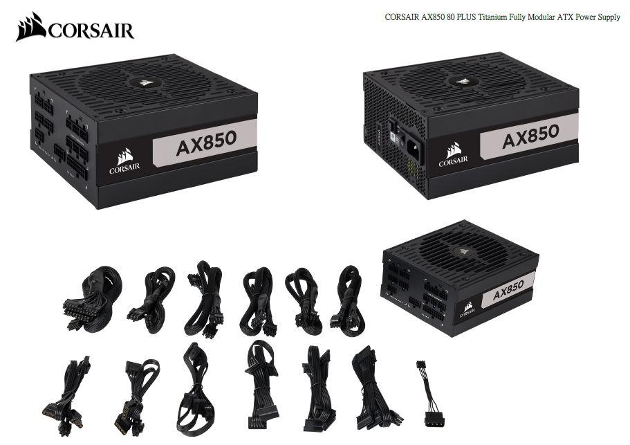 Corsair, 850W, AX, Series, 80, PLUS, Titanium, Fully, Modular, ATX, Power, Supply, 10, Years, Warranty,
