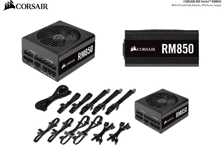 Corsair, 850W, RM, 80+, Gold, Fully, Modular, 135mm, FAN, ATX, PSU, 10, Years, Warranty,