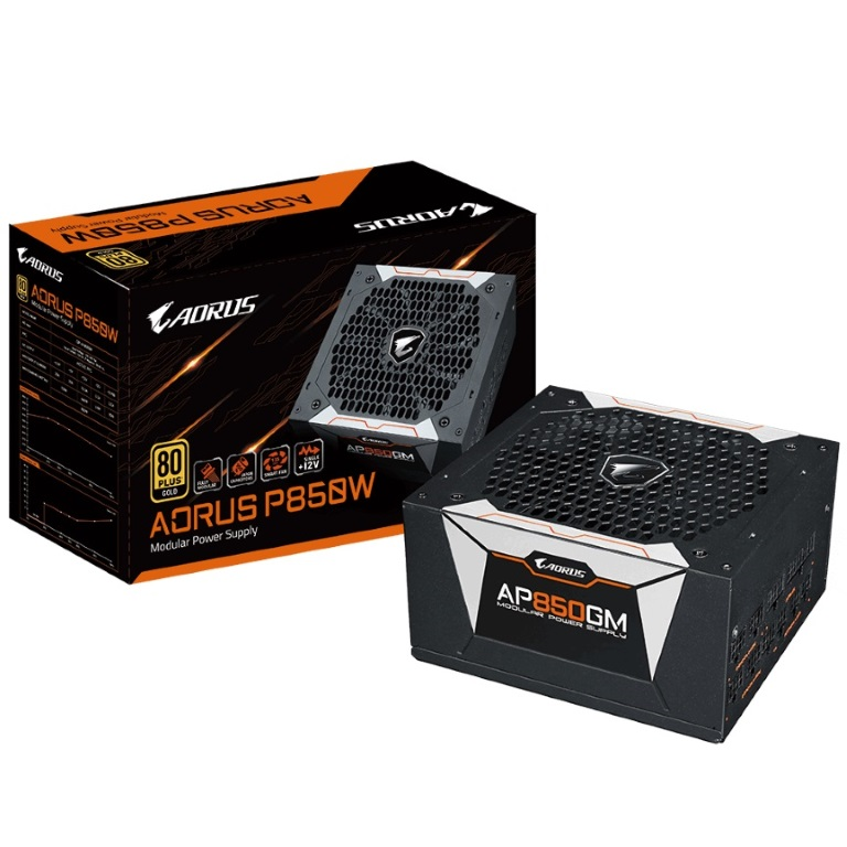 Gigabyte, AP850GM, AORUS, 850W, ATX, PSU, Power, Supply, 80+, Gold, 90%, Modular, 135mm, Fan, Black, Flat, Cables, Single, +12V, Rail, Japa,
