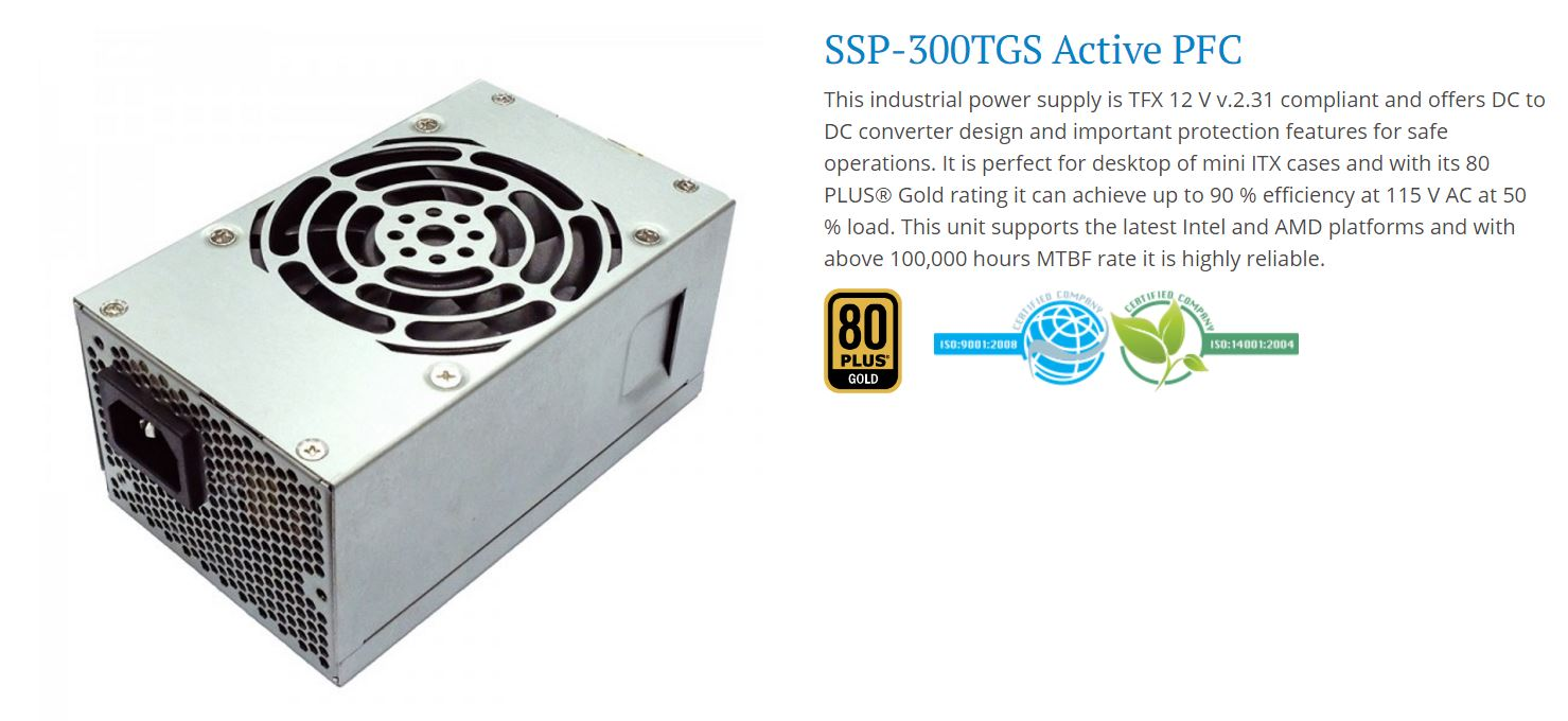 Seasonic, TFX, 300W, 80+, Gold, APFC, PSU, 3, Years, Warranty,