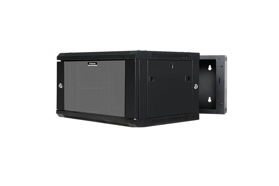SharkRack, 6U, 600x550x368mm, Wall, Mount, Double, Section, Swing, Frame, with, hinged, rear, access, Black, Flat, Pack,