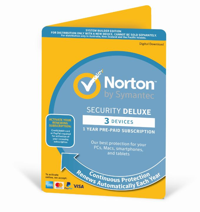 Norton, Security, Deluxe, 2018, 3, Device, 12, Months, PC, MAC, Android, iOS, OEM, -, Subscription, Only, Edition,