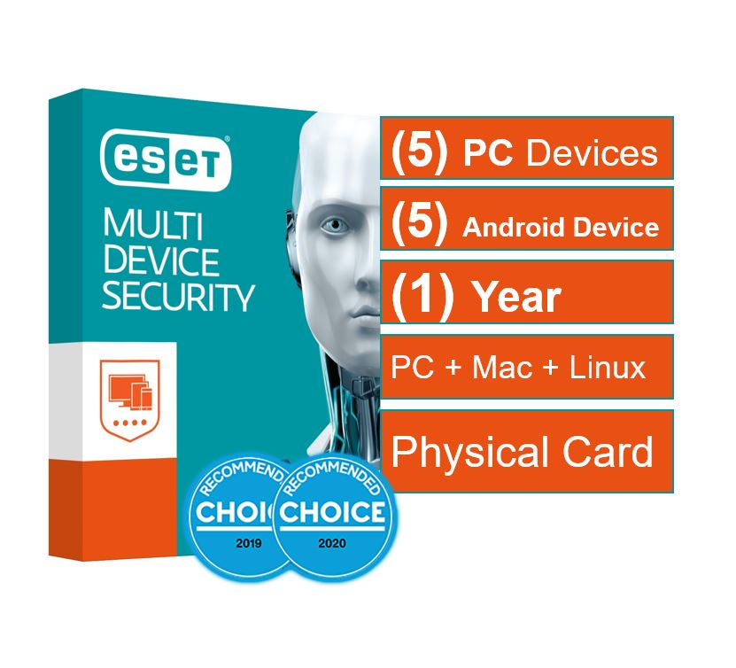 ESET, Multi, Device, Security, 5, Windows, PCs, or, Macs, or, Linux, +, 5, Android, Mobile, Devices, 1, Year, Physical, Printed, Download, Ca,