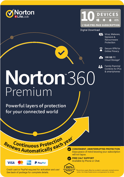 Norton, 360, Premium, 100GB, 1, User, 10, Devices, 12, Months, PC, MAC, Android, iOS, DVD,