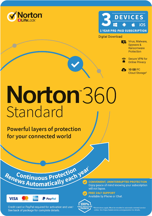 Norton, 360, Standard, 10GB, 1, User, 3, Devices, 12, Months, PC, MAC, Android, iOS, DVD, OEM,
