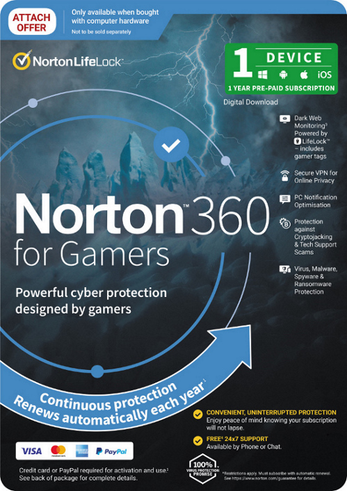 Norton, 360, Security, -, Gamer, Edition, 1, Device, Dark, Web, Monitoring, Password, Manager, Secure, VPN, MAC, IOS, Android, PC,