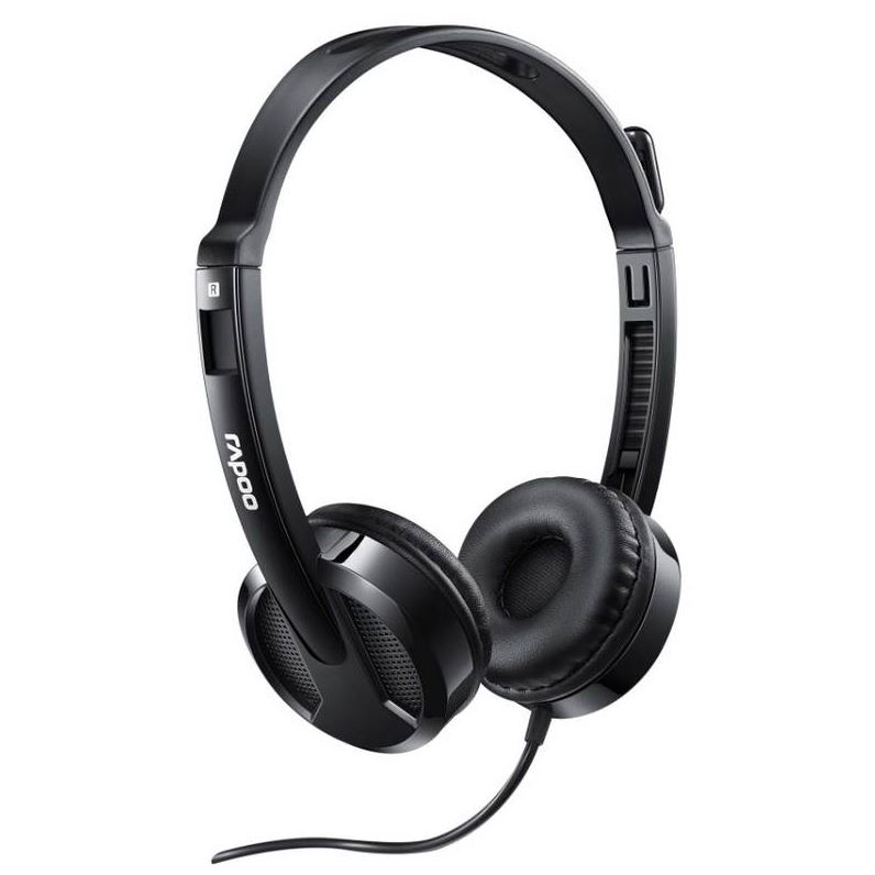 RAPOO, H100, Wired, Stereo, Headsets, -, HD, Voice, Rotary, Microphone, Volume, Adjustment, 3.5mm,