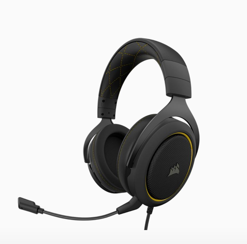 Corsair, HS60, PRO, Black/Yellow, Trim, STEREO, 7.1, Surround, Gaming, Headset, Black, with, Yellow, Trim.,