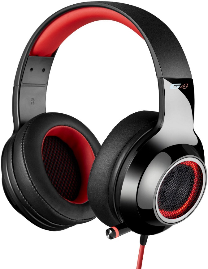 Edifier, V4, (G4), 7.1, Virtual, Surround, Sound, USB, Gaming, Headset, Red, -, V7.1, Surround, Sound/, Retractable, Mic/LED, Lights, Mesh,