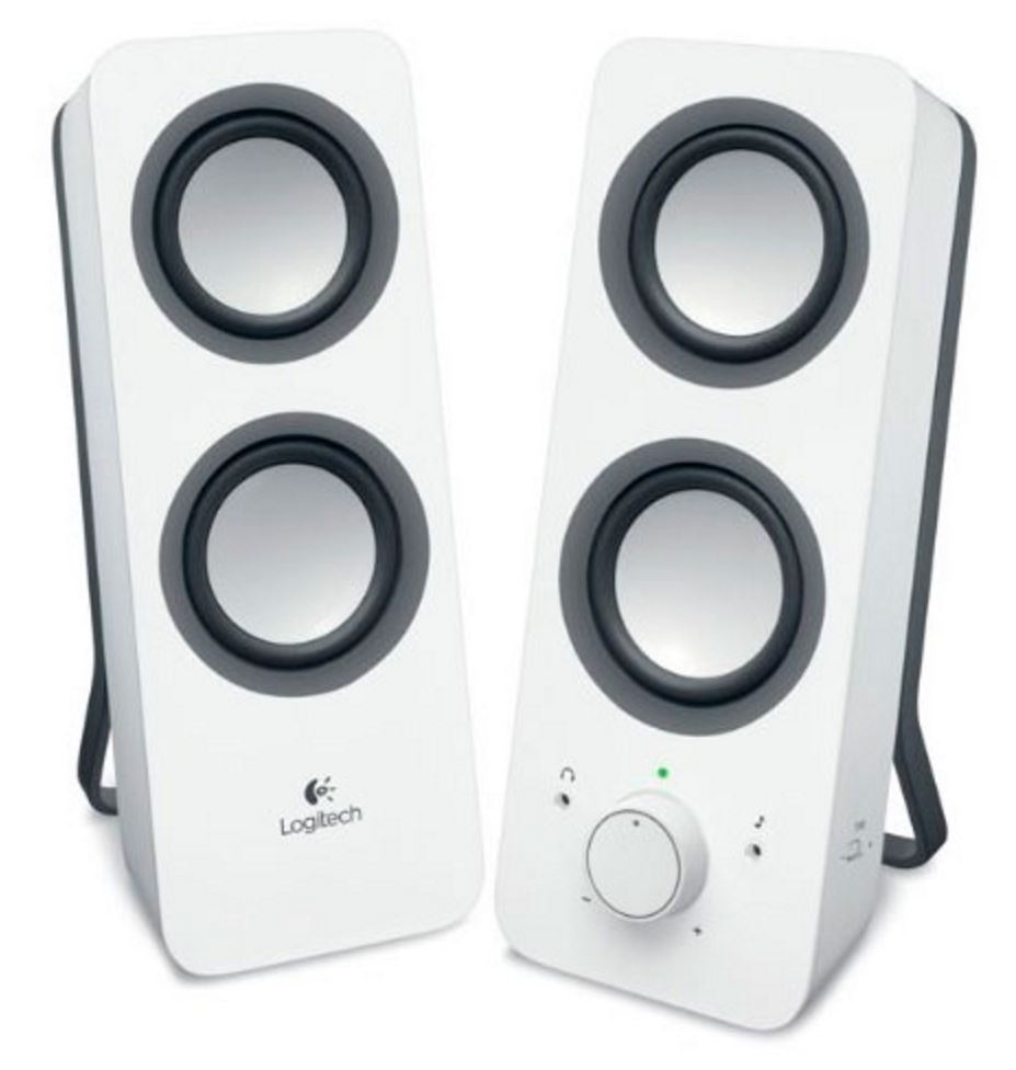 Logitech, Z200, Multimedia, Speakers, Snow, White, 10W, RMS, 3.5mm, Jack, Volume, Bass, Power, Control, Node, 2yr, Wty,